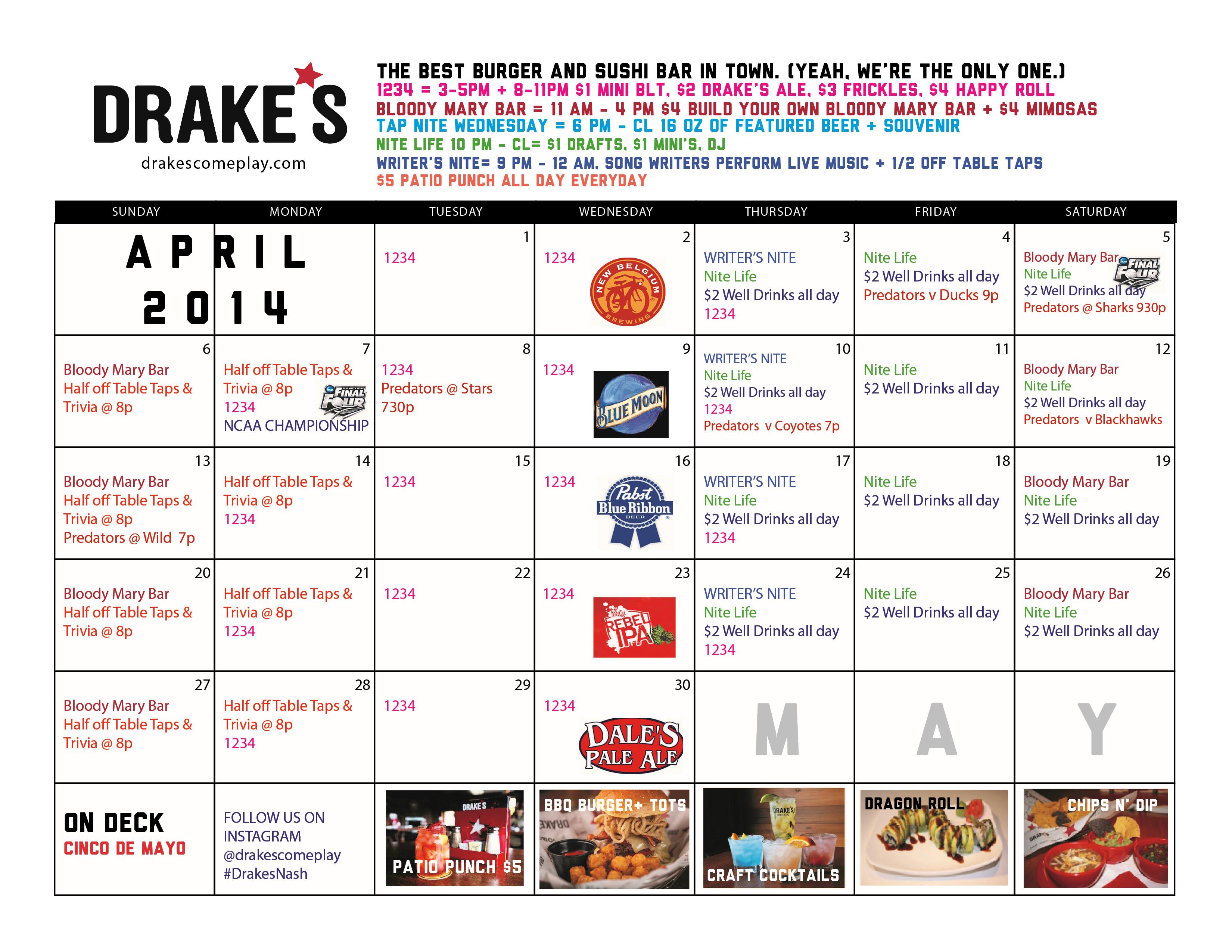 April Calendar Nashville : Nashville calendar drakes come play
